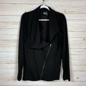 H by Bordeaux Black Moto Ribbed Sweatshirt Jacket